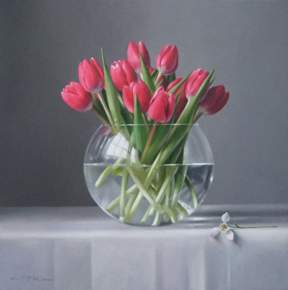 Lucy McKie Deep Pink Tulips with Snowdrop