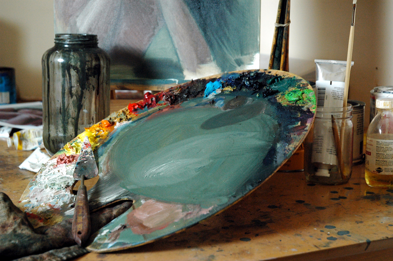 Image of a palette with oil paints