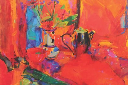 'Red Still Life' - painting by Peter Graham ROI