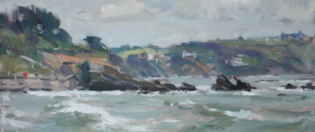 "Painting by David Pilgrim ROI ""Waves Rolling in, Looe"""