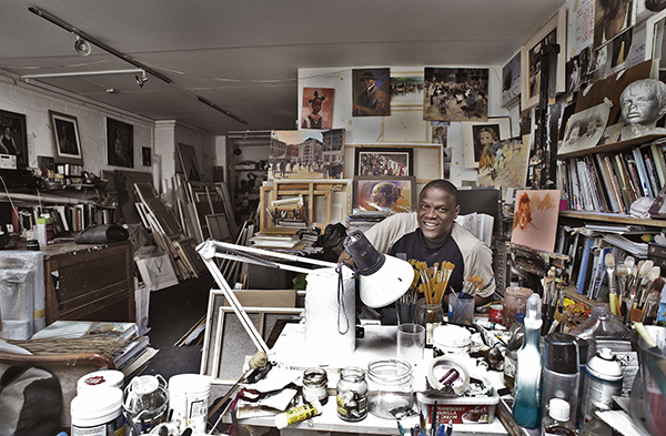 Adebanji working in his studio