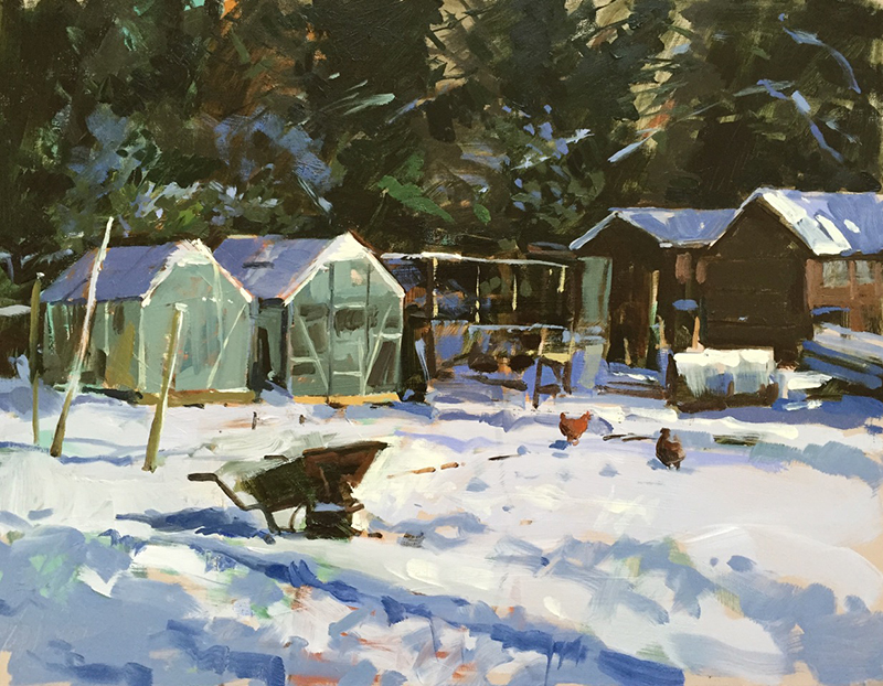 Painting - First snow, Drove allotments