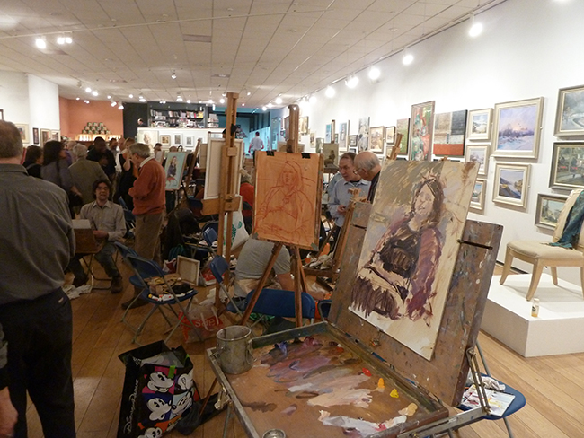 Paintings in progress at the ROI paint evening