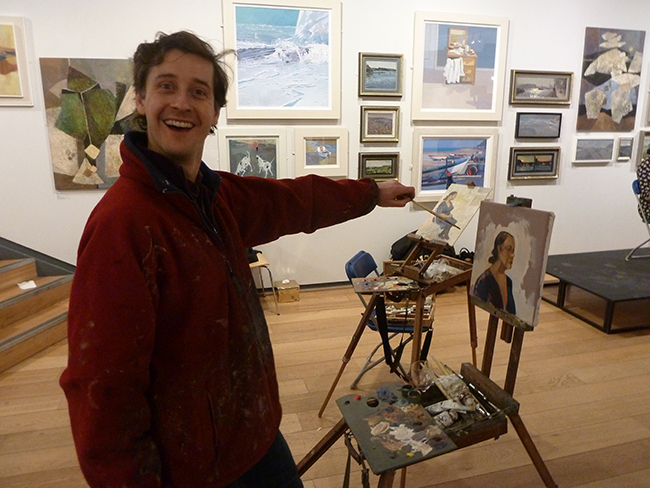 Lachlan Goudie enjoying the paint evening!