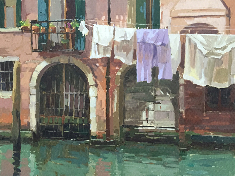 Painting - Wash day, Venice
