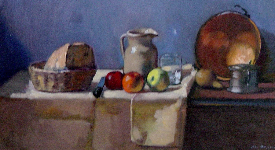 Still Life with Copper Pot, P.L. Baffoni, oil on canvas