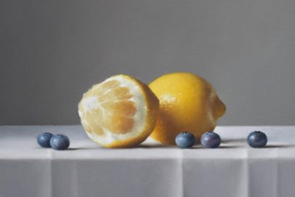 Blueberries with Lemons, oil on canvas