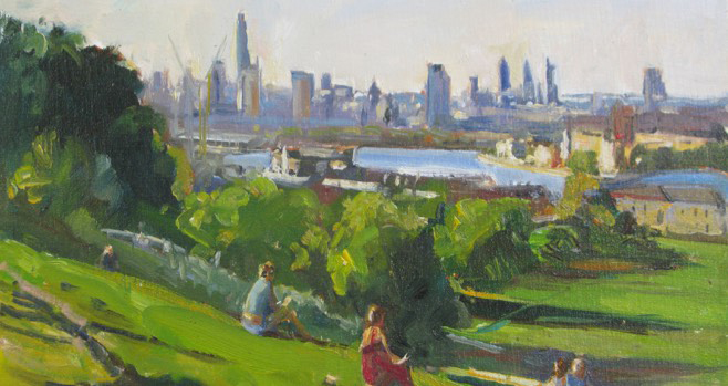 'Sunbathing on the hill', 12x16in, oil - by Roger Dellar