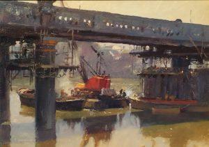 "'Railway Bridge Maintenance, Putney' (oil) 10"" x14"""