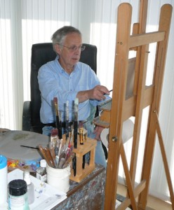 Brian Ryder painting at the easel