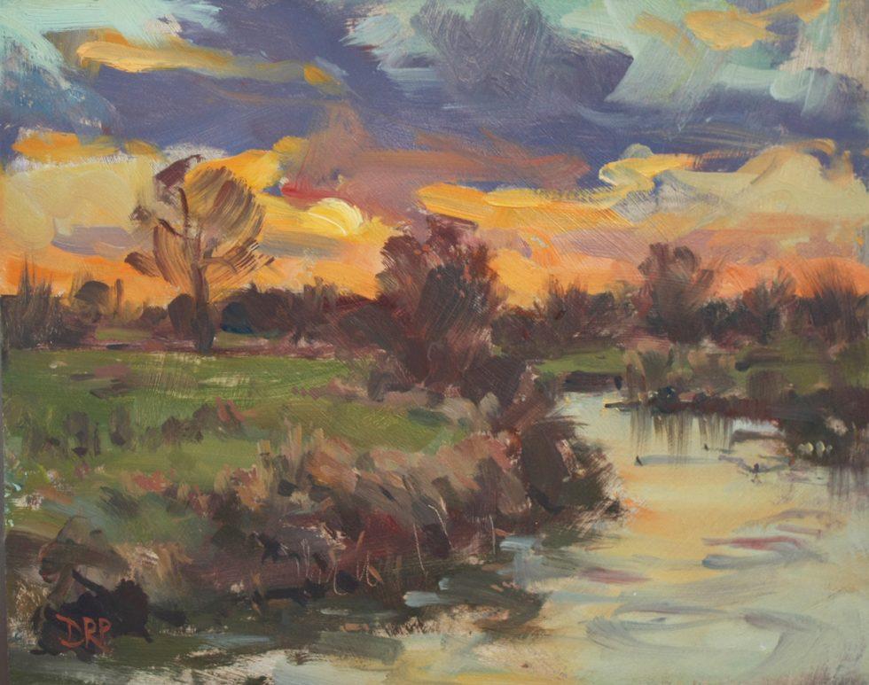 Setting sun over the river Ouse, Passenham