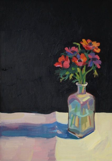 goudie_Anemonies, Oil on board 41x58cm