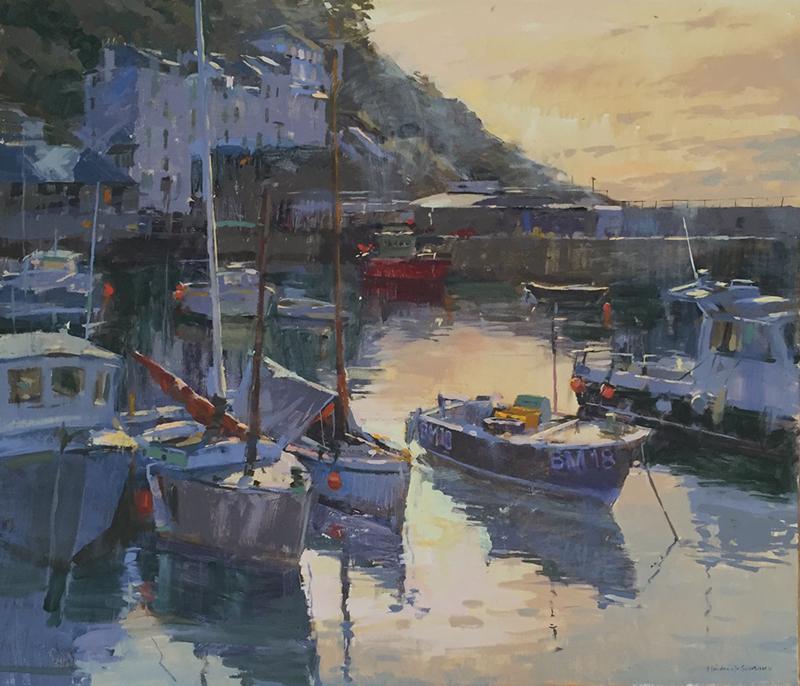 Painting - Evening light, Polperro harbour