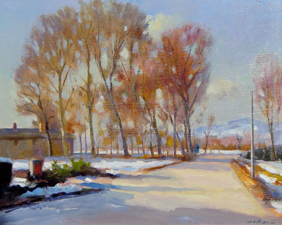 Winter Cuneo Italy - painting by Pier Luigi Baffoni
