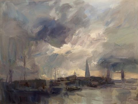 "Looking West along the Thames', oil on canvas, 36""x48"" - painting by Tim Benson"