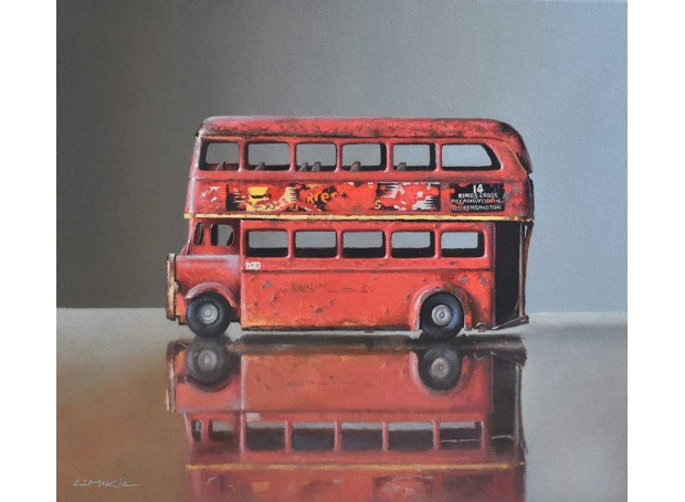 Old Toy Bus on Glass