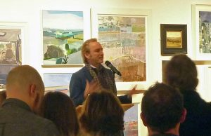 Phillip Mould speaking at the private view