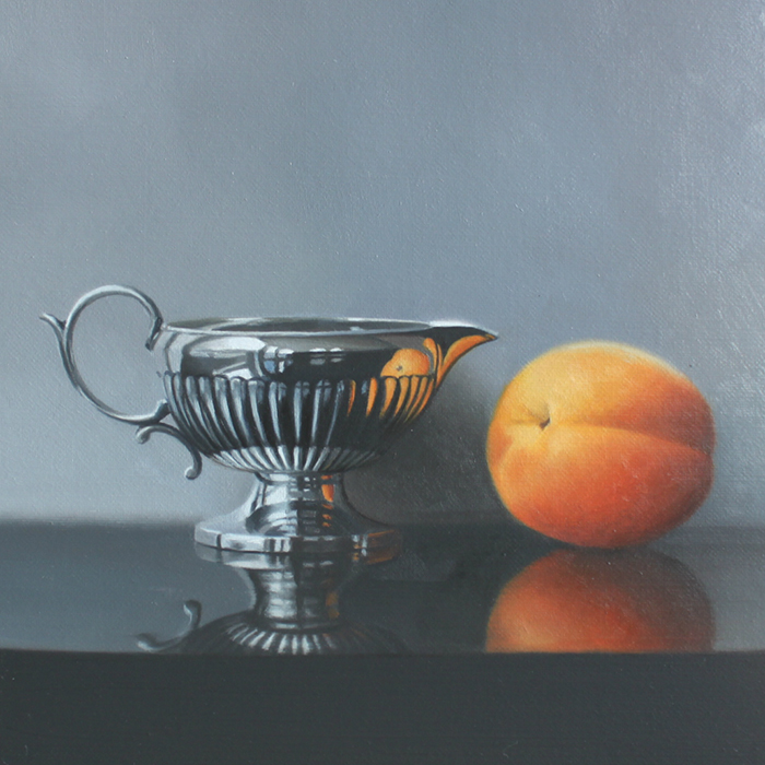 Linda Alexander 'Little Silver Jug and Apricot' 18x18cm, framed