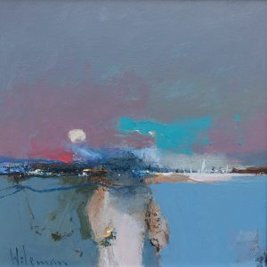 Painting by Peter Wileman 'Cobalt Drift Study' 30x30cm oil on canvas, framed