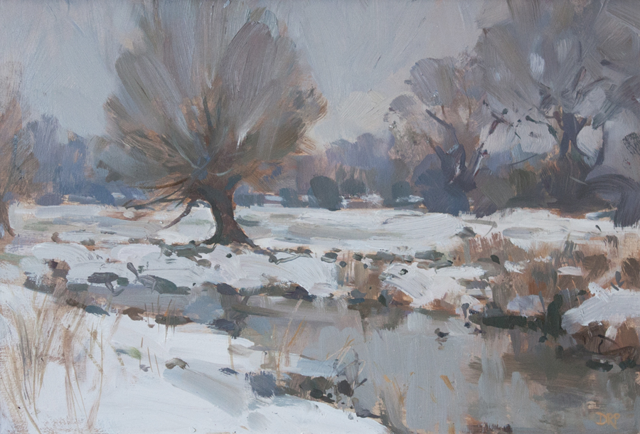 Snow along the river Ouse, Stony Stratford