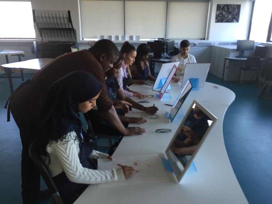 Self portrait session with pupils at the London Academy of Excellence