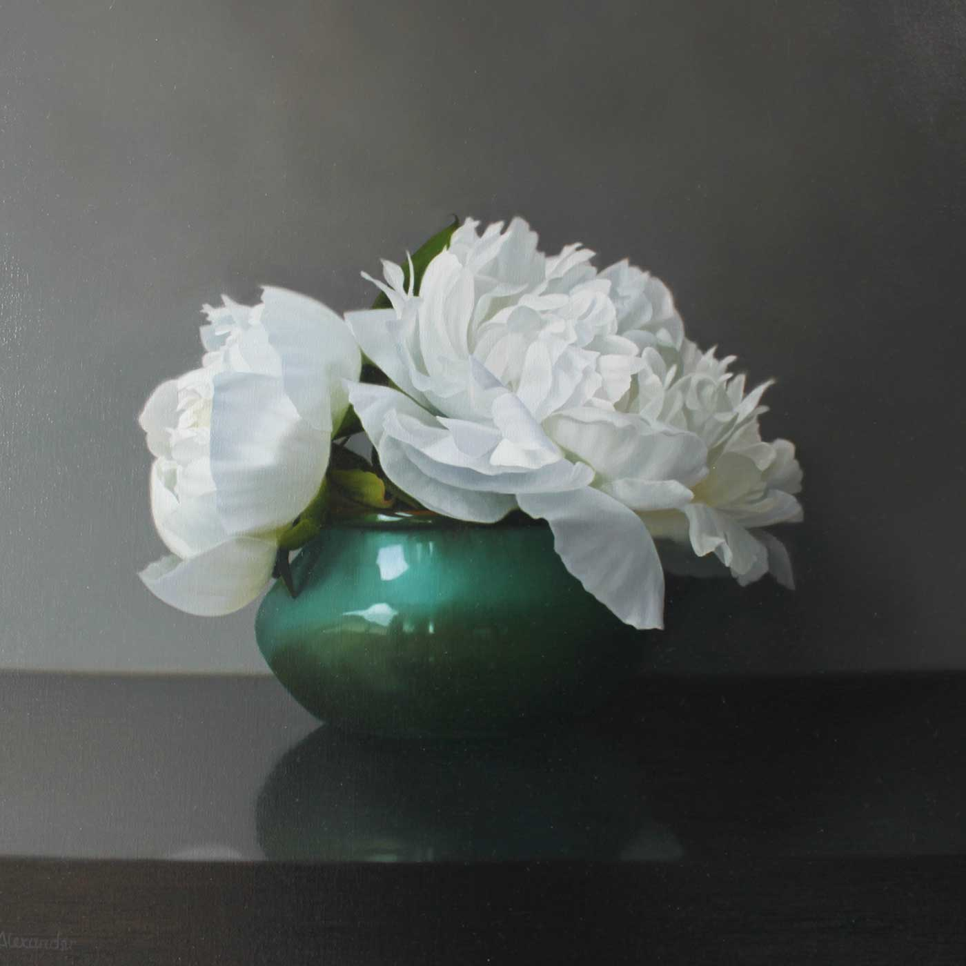 White Peonies in a Green Bowl