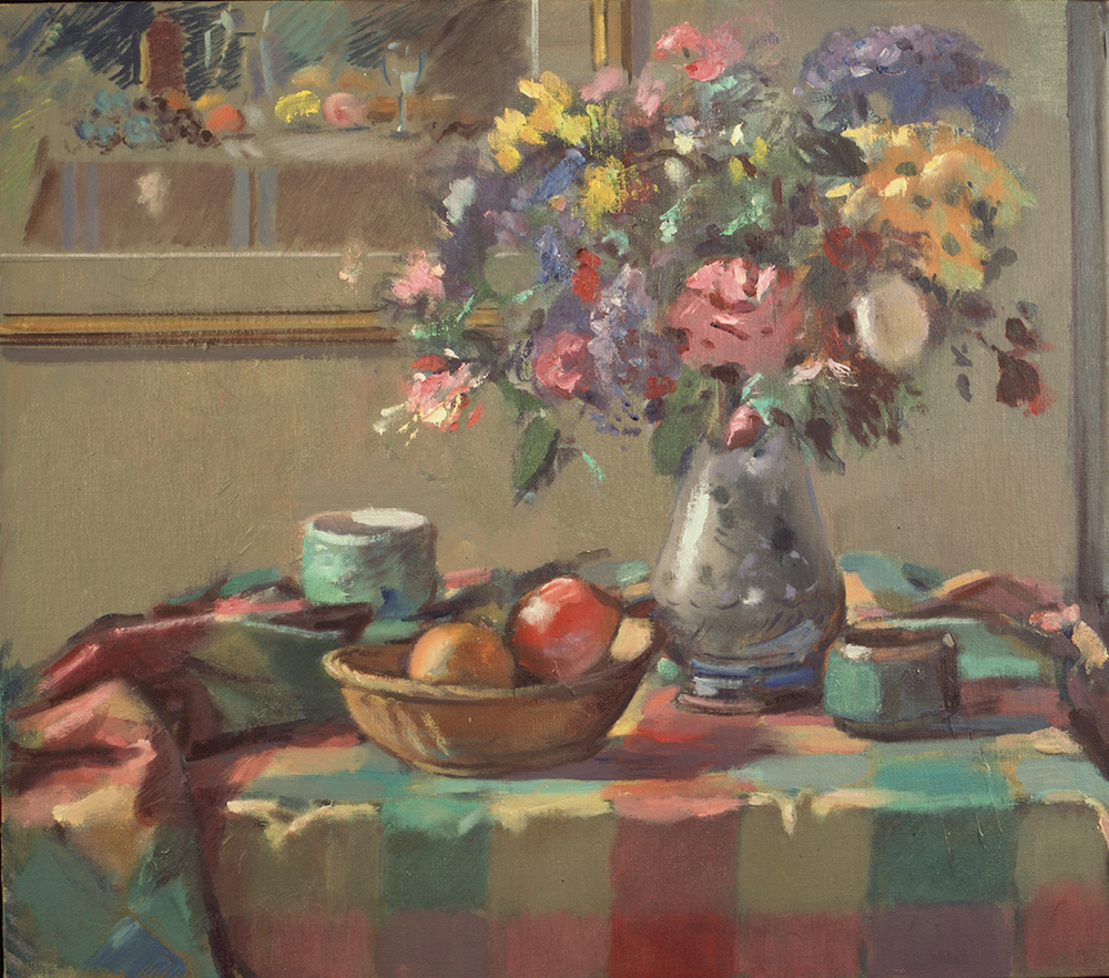 Still life with fruit and flowers by Pier Luigi Baffoni