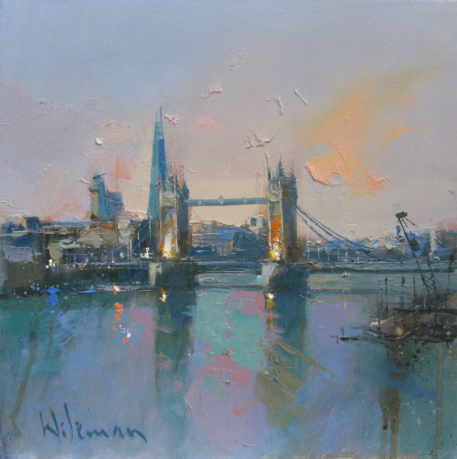 Tower Bridge - The Shard, 30cm x 30cm, Oil on Canvas painting by Peter Wileman