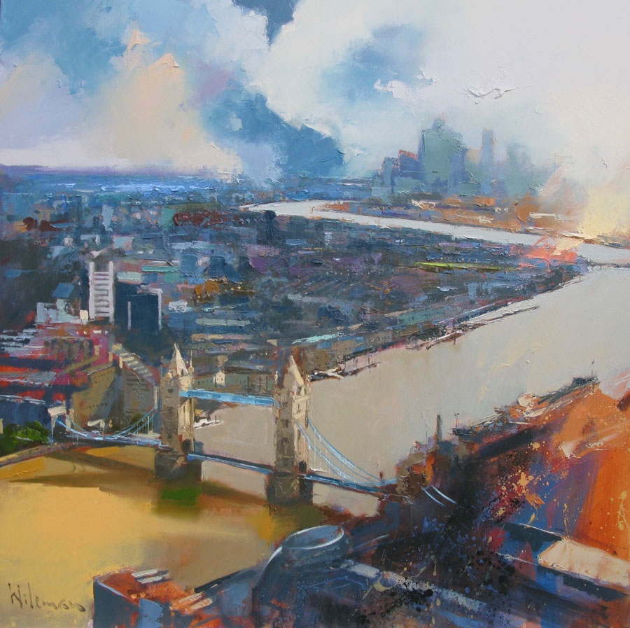 View from the Shard, 80cm x 80cm, Oil on Canvas painting by Peter Wileman
