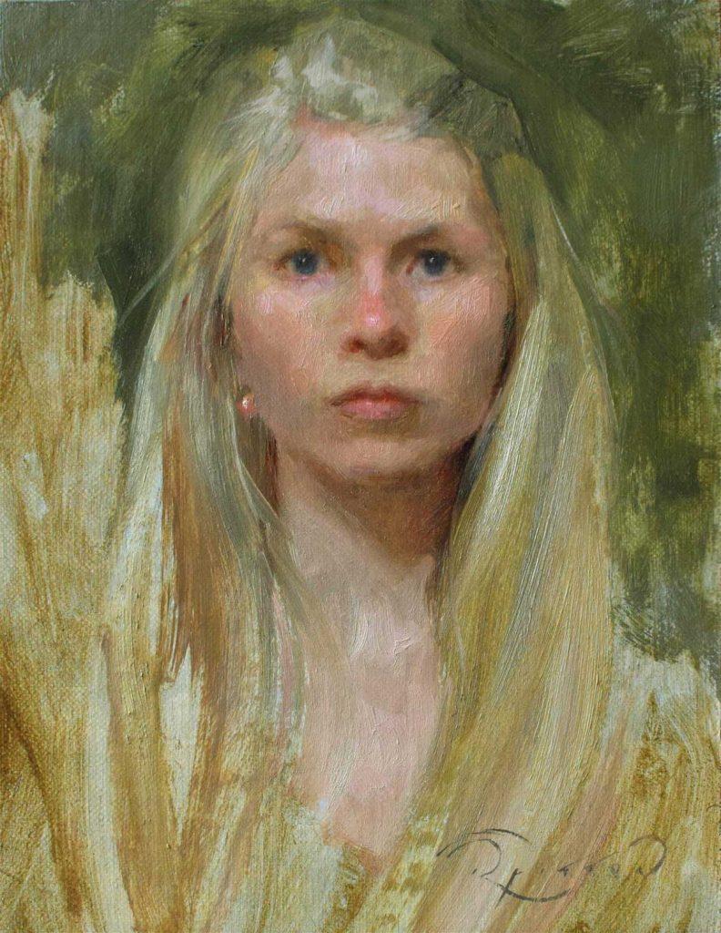 Ruth Fitton – Self portrait in miniature (Winsor & Newton Young Artist Award: 1st)