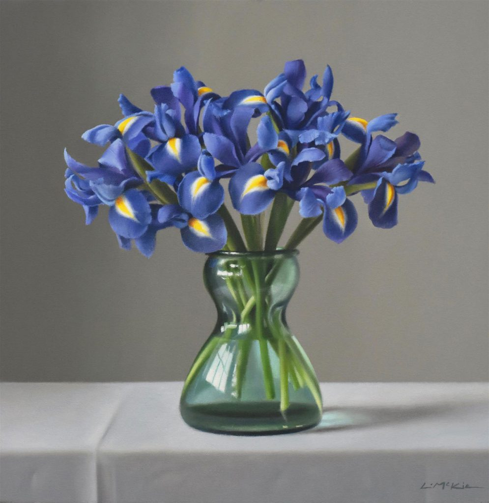 Painting 'Irises in a bulb vase' by Lucy McKie ROI